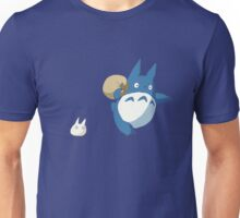 Small White and Blue Totoro with Swag Bag - No Outline Unisex T-Shirt