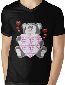 Teddy Bear in Love  Mens V-Neck T-Shirt