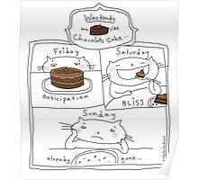 Weekends are like chocolate cake / Cat doodles Poster