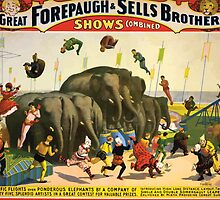 Poster 1890s  …trialsanderrors Terrific flights over ponderous elephants poster for Forepaugh ^ Sells Brothers ca 1899 USSR by wetdryvac