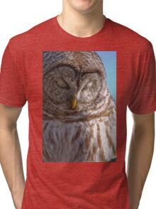 Barred Owl in Tree - Brighton, Ontario Tri-blend T-Shirt