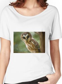 Northern Saw Whet Owl On Branch Women's Relaxed Fit T-Shirt