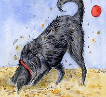 Hairy Poodle Cross Labrador Watercolour by cottagerts