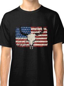 Buffalo Skull - USA Flag - Vintage Look Classic T-Shirt