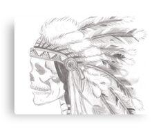 tribal skull pencil drawing Canvas Print