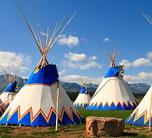 Stoney Nakoda teepees by zumi
