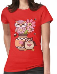 Love Owls  Womens Fitted T-Shirt