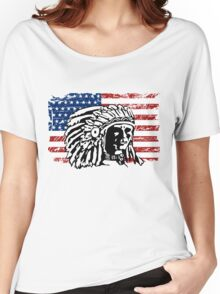 American Indian - USA Flag - Vintage Look Women's Relaxed Fit T-Shirt