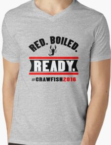 Red boiled ready crawfish 2016 mens geek funny nerd Mens V-Neck T-Shirt