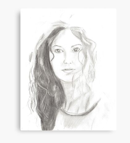 Girl smile pencil drawing Canvas Print