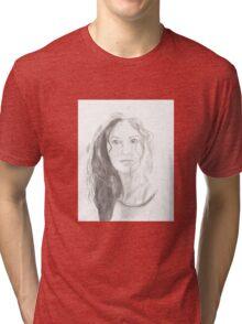 Girl smile pencil drawing Tri-blend T-Shirt