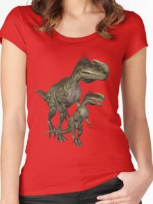 On The Hunt , Dinosaurs Women's Fitted Scoop T-Shirt