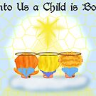 Three Angels Christmas Card by Chere Lei