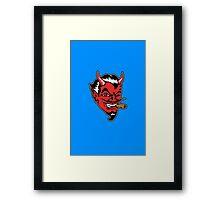 Retro devil head geek funny nerd Framed Print