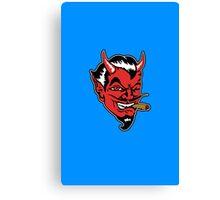 Retro devil head geek funny nerd Canvas Print
