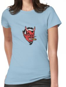 Retro devil head geek funny nerd Womens Fitted T-Shirt
