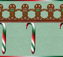 Gingerbread Men Christmas Card 2 by Chere Lei
