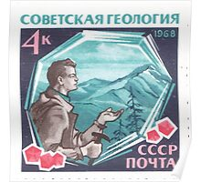 The Soviet Union 1968 CPA 3681 stamp Prospecting Geologist with Found Diamond and Red Crystals Pyropes Garnets with label USSR Poster