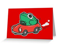 Frog Riding A Car Greeting Card