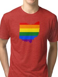 LGBT Flag Map of Ohio  Tri-blend T-Shirt