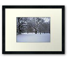 Snowy park scene Framed Print