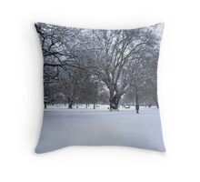 Snowy park scene Throw Pillow