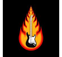 Guitar in Flames Photographic Print