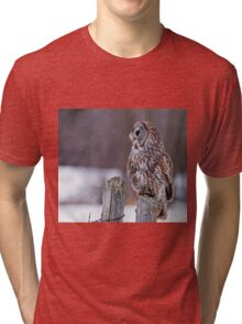 Great Grey Owl - Dunrobin, Ontario Tri-blend T-Shirt