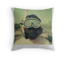 Fins, goggles and rifle Throw Pillow