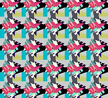Vibrant Crystal Cluster Pinks on Blue Stripe  - Jenny Meehan by jenny meehan