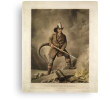 The American Fireman: Facing the Enemy (1858) Canvas Print