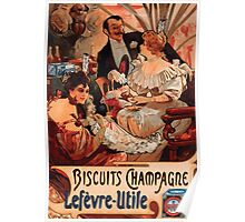 Poster 1890s Alfons Mucha 1896 Biscuits ChampagneLefèvreUtile Poster