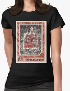 Foreign Tourism series in The Soviet Union 1970 CPA 3937 stamp Architecture Saint Basils Cathedral Red Square Moscow USSR Womens Fitted T-Shirt