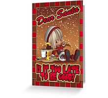 Christmas Card - Naughty Elf Eating Gingerbread Greeting Card