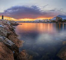 Sunset On The Back Of Marbella Promenade (Panorama Version)  by servalpe
