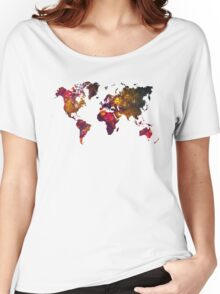 World Map Mountains Women's Relaxed Fit T-Shirt