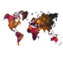 World Map Mountains Photographic Print