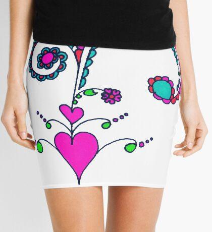 Heart Mandala Tropical Henna  Mini Skirt