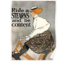 Poster 1890s Ride a Stearns and be content bicycle advertising poster 1896 Poster