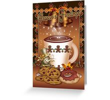 Hot Chocolate Christmas Card Bells And Holly  Greeting Card