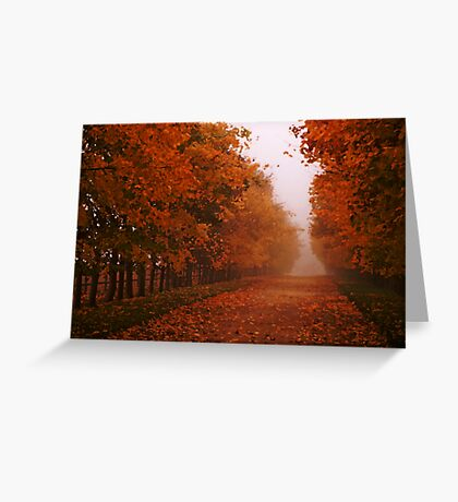 Misty Autumn morning, Gloucestershire, UK Greeting Card