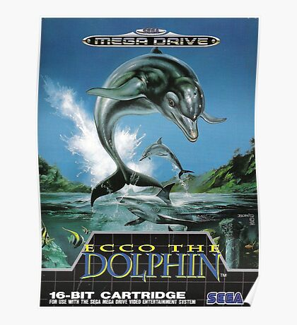 Ecco the Dolphin Mega Drive Cover Poster