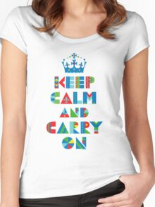 Keep Calm Carry On - on lights Women's Fitted Scoop T-Shirt