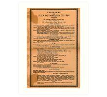 Poster 1890s Programme des Jeux Olimpiques de 1896 Art Print