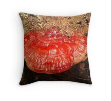 Red Lacquered Polypore Throw Pillow