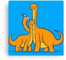 Dinosaur Growth Chart (Orange Dinos) Canvas Print