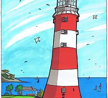Plymouth Hoe Lighthouse by Spencer Holdsworth Art