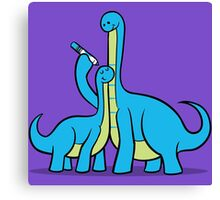 Dinosaur Growth Chart (Blue Dinos) Canvas Print