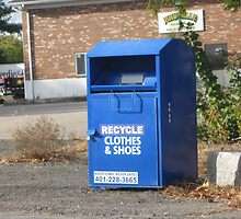 Blue Clothing recycling donation bin by Eric Sanford