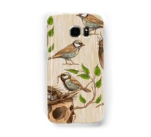 black and white illustration of birds making a nest in animal skull Samsung Galaxy Case/Skin